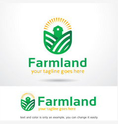 Farm land logo template design emblem design vector