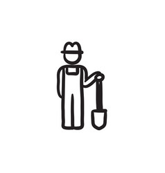Farmer with shovel sketch icon vector