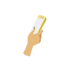 female hand holds a smartphone finger touchs vector image