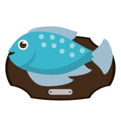 Fish animal cartoon over table design vector image