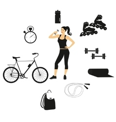 fitness women set vector image