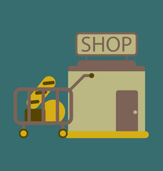 flat icon shop cart with food vector image
