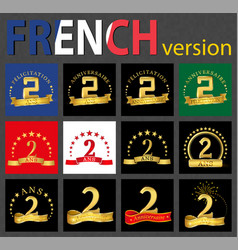 french set of number 2 templates vector image