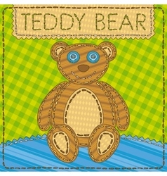 Funny patchwork with the Teddy Bear vector