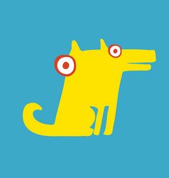 Funny yellow dog sitting on its hind legs vector