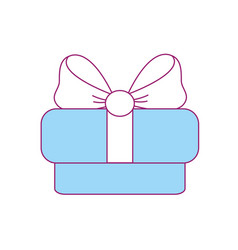 Gift present with ribbon decoration to celebrate vector
