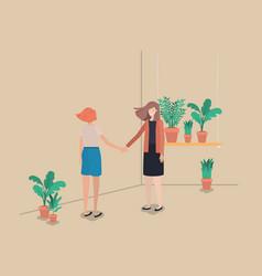 girls with houseplants in shelf vector image