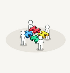 Group of people assembling jigsaw puzzle vector