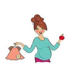 happy pregnant woman at shopping isolated on white vector image