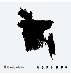 High detailed map bangladesh with navigation vector