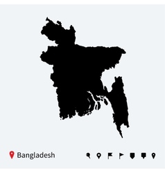 High detailed map of Bangladesh with navigation vector