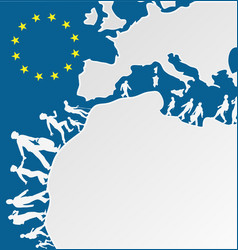 Immigration people silhouette moving to europe vector