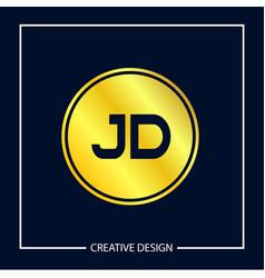 initial letter jd logo template design vector image