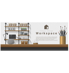 Interior design with table top and workplace vector