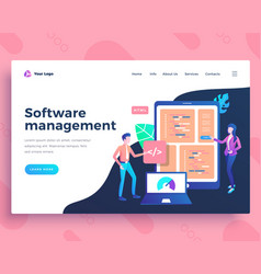 landing page template software management concept vector image