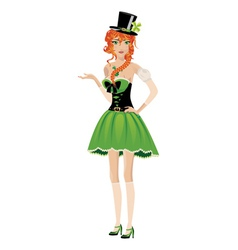 Leprechaun girl vector