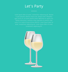 lets party poster pair glasses design vector image