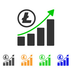 litecoin growing graph trend icon vector image