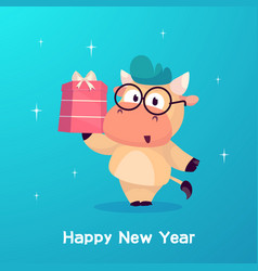 Little bull holds in a box with a gift year vector