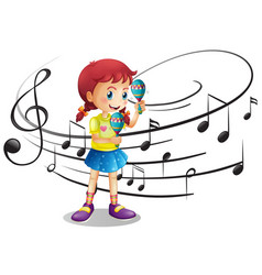 Little girl shaking maracas vector