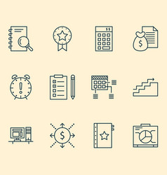 Management icons set with deadline goal project vector
