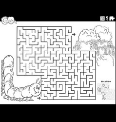 maze game with caterpillar and meadow coloring vector image