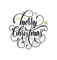 merry christmas flourish hand drawn calligraphy vector image