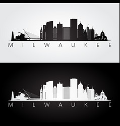 Milwaukee usa skyline and landmarks silhouette vector