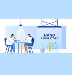 Nano laboratory banner with scientists characters vector