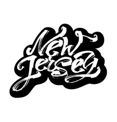 New jersey sticker modern calligraphy hand vector