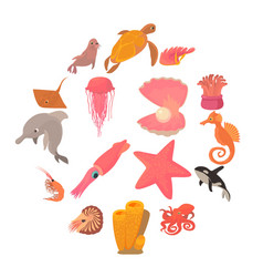 Ocean animals fauna icons set cartoon style vector