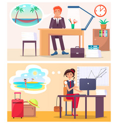 Office workers dream about travel to hot country vector