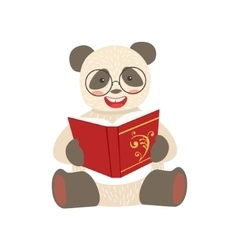 Panda Smiling Bookworm Zoo Character Wearing vector