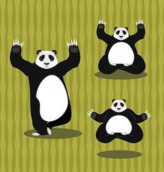 Panda Yoga meditating Chinese bear on background vector