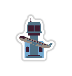 Paper sticker on white background plane takeoff vector