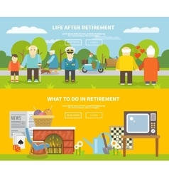 Pensioners Life Banner Set vector