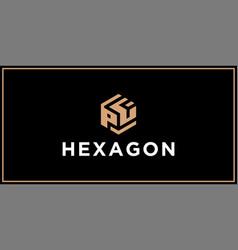 Pf hexagon logo design inspiration vector