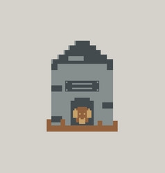 Pixel art puppy in dog house vector