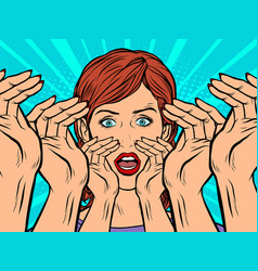 pop art woman screams vector image