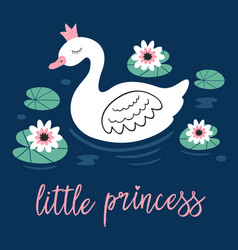 Poster with princess swan in lake vector