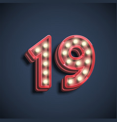 realistic number character with lamps vector image