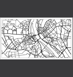 Riga latvia map in black and white color vector