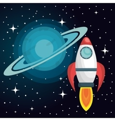 Rocket ship solar system isolated vector