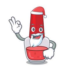 Santa nail polish mascot cartoon vector