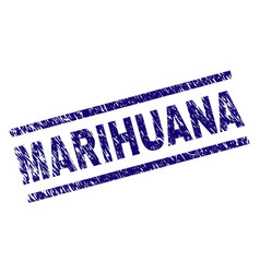 Scratched textured marihuana stamp seal vector