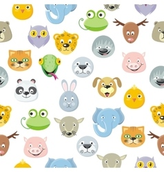 Seamless Pattern Animal Faces Set Cartoon Masks vector