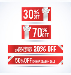 set of four christmas discount banners vector image