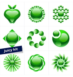 Set of green icons design element business logo vector