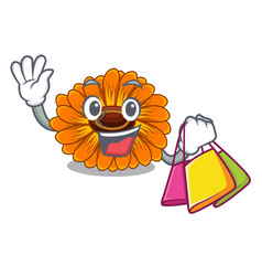 Shopping calendula flowers in a cartoon basket vector
