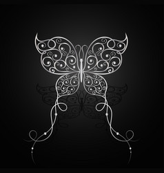 Silver butterfly with swirl pattern vector